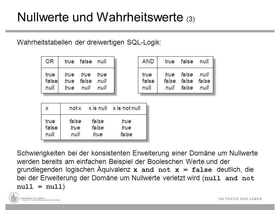 Nullwerte und Wahrheitswerte (3) Wahrheitstabellen der dreiwertigen SQL-Logik: Schwierigkeiten bei der konsistenten Erweiterung einer Domäne um Nullwe