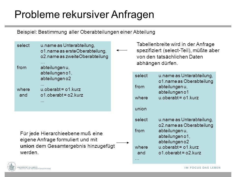 Probleme rekursiver Anfragen select u.name as Unterabteilung, o1.name as ersteOberabteilung, o2.name as zweiteOberabteilung … from abteilungen u, abte