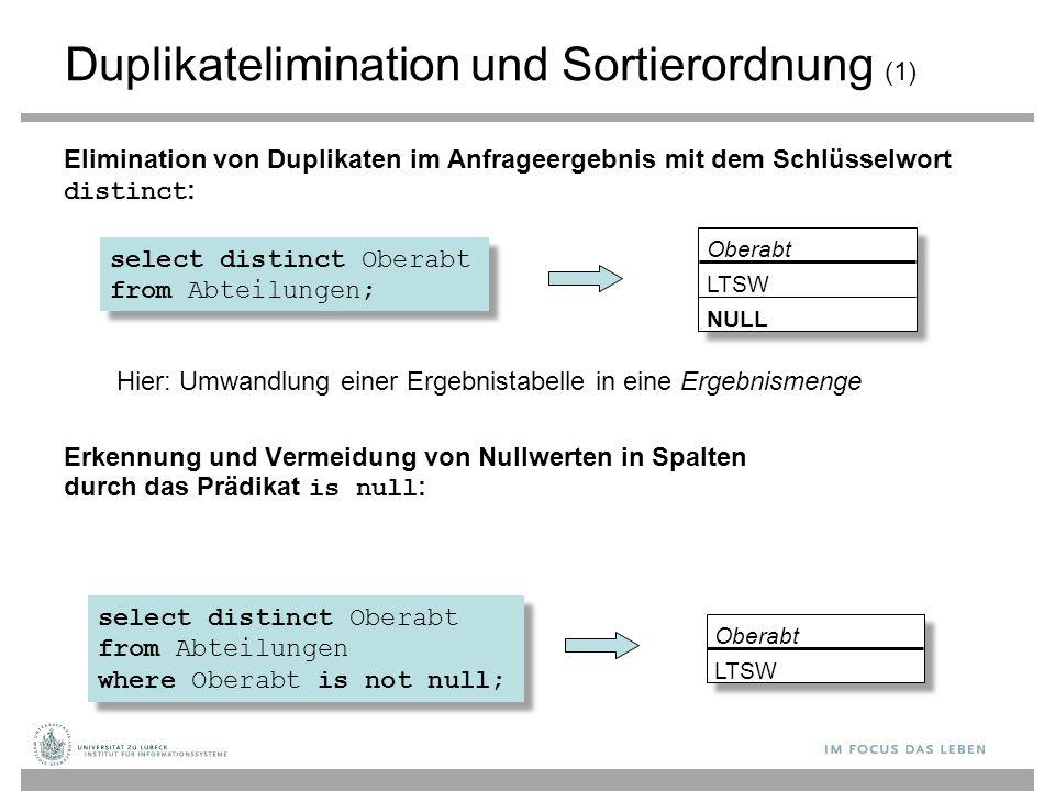 Duplikatelimination und Sortierordnung (1) Elimination von Duplikaten im Anfrageergebnis mit dem Schlüsselwort distinct : Hier: Umwandlung einer Ergeb