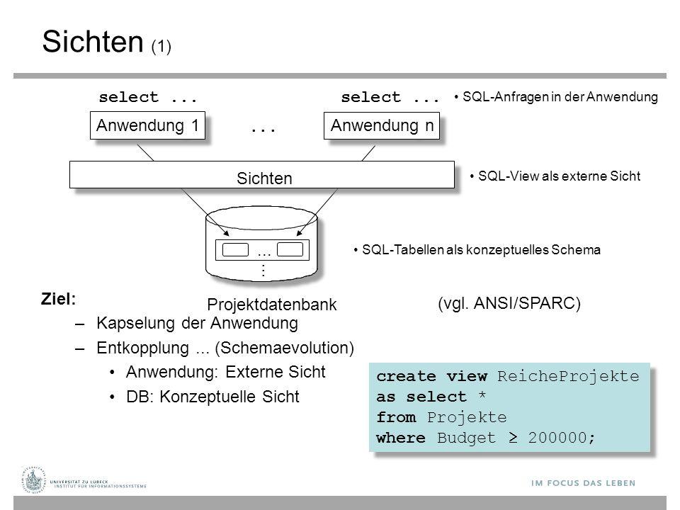Anwendung 1 Anwendung n... Sichten Projektdatenbank... select... SQL-Anfragen in der Anwendung SQL-View als externe Sicht SQL-Tabellen als konzeptuell