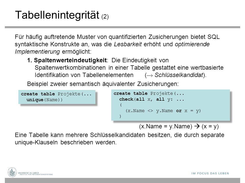 Tabellenintegrität (2) Für häufig auftretende Muster von quantifizierten Zusicherungen bietet SQL syntaktische Konstrukte an, was die Lesbarkeit erhöh