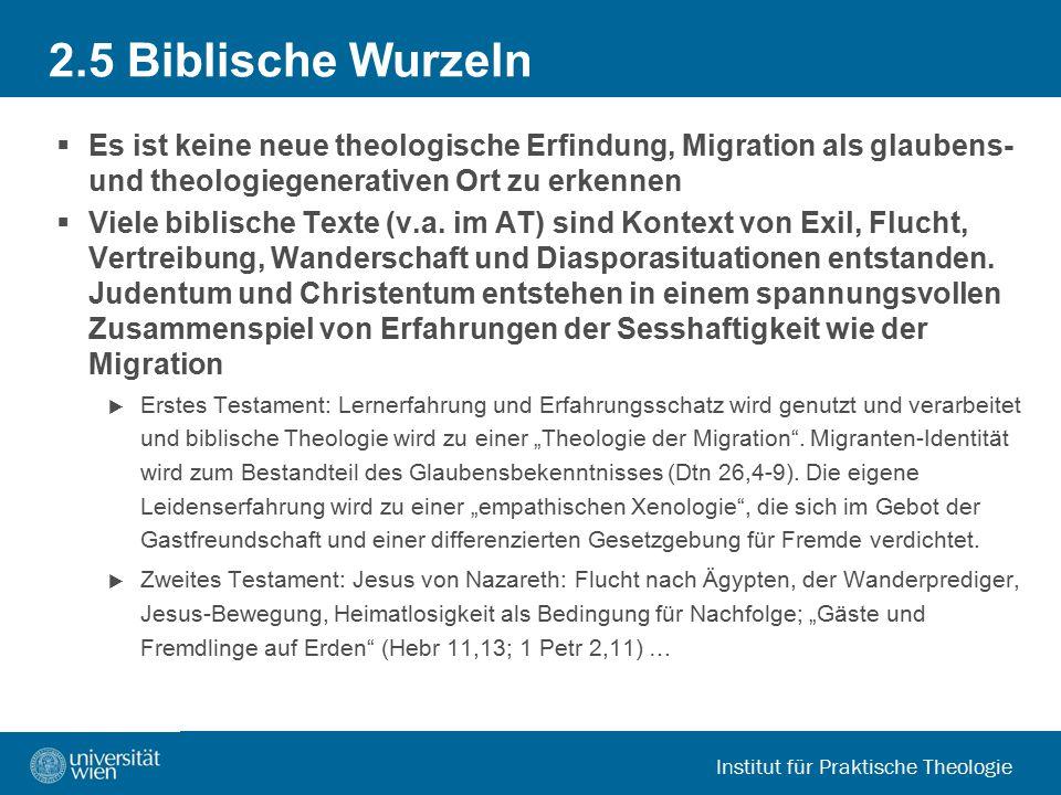 Institut für Praktische Theologie 2.5 Biblische Wurzeln  Es ist keine neue theologische Erfindung, Migration als glaubens- und theologiegenerativen O