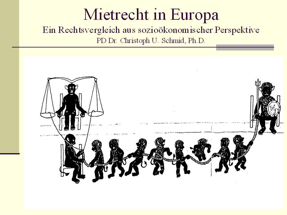 Vorbemerkungen Hintergrund Ergebnisse des vergleichenden Mietrechtsprojekts des Europäischen Privatrechtsforums am EHI Florenz (2002-2004) methodischer Ansatz Ziel: nicht nur wertneutraler funktionaler Vergleich von rechtlichen Instituten und Regelungen (klassischer Ansatz) sondern: Prüfung der Geeignetheit der nationalen Regelungsmodelle zur Erfüllung der sozioökonomi- schen Grundfunktionen des Mietrechts  auf dieser Grundlage zu untersuchen, welche Rolle die EU im Mietrecht spielen könnte