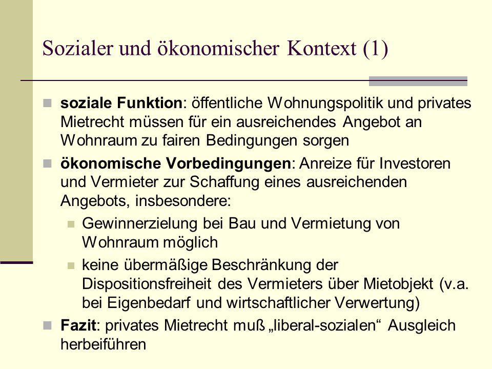 Höhe und Erhöhung des Mietzinses (1): Einteilung nach Grad des Sozialschutzes (I) 1.
