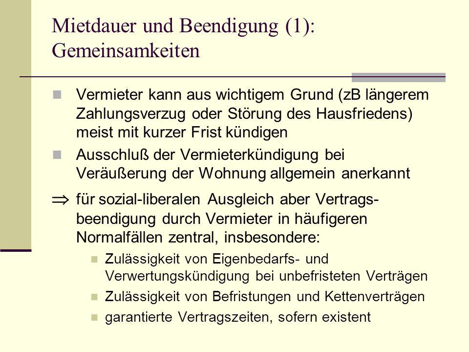 Mietdauer und Beendigung (2): Einteilung nach Grad des Sozialschutzes (I) 1.