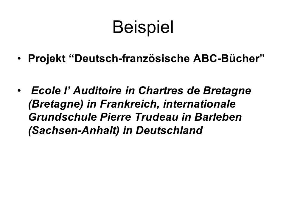 """Beispiel Projekt """"Deutsch-französische ABC-Bücher"""" Ecole l' Auditoire in Chartres de Bretagne (Bretagne) in Frankreich, internationale Grundschule Pie"""