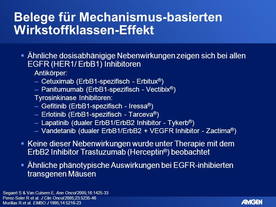 Belege für Mechanismus-basierten Wirkstoffklassen-Effekt  Ähnliche dosisabhänigige Nebenwirkungen zeigen sich bei allen EGFR (HER1/ ErbB1) Inhibitore