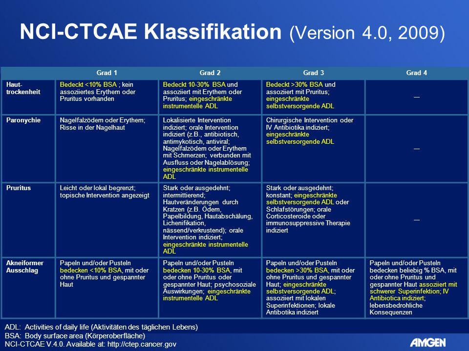 NCI-CTCAE Klassifikation (Version 4.0, 2009) ADL: Activities of daily life (Aktivitäten des täglichen Lebens) BSA: Body surface area (Körperoberfläche