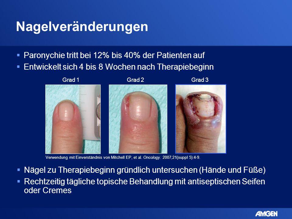 Nagelveränderungen  Paronychie tritt bei 12% bis 40% der Patienten auf  Entwickelt sich 4 bis 8 Wochen nach Therapiebeginn Verwendung mit Einverstän
