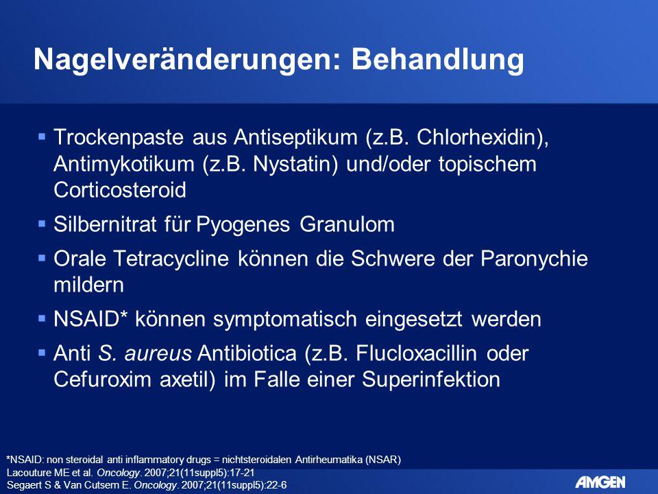 Nagelveränderungen: Behandlung  Trockenpaste aus Antiseptikum (z.B. Chlorhexidin), Antimykotikum (z.B. Nystatin) und/oder topischem Corticosteroid 