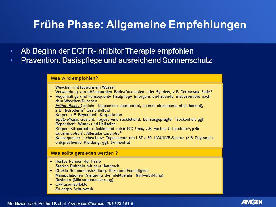 Frühe Phase: Allgemeine Empfehlunge n Ab Beginn der EGFR-Inhibitor Therapie empfohlen Prävention: Basispflege und ausreichend Sonnenschutz  Waschen m