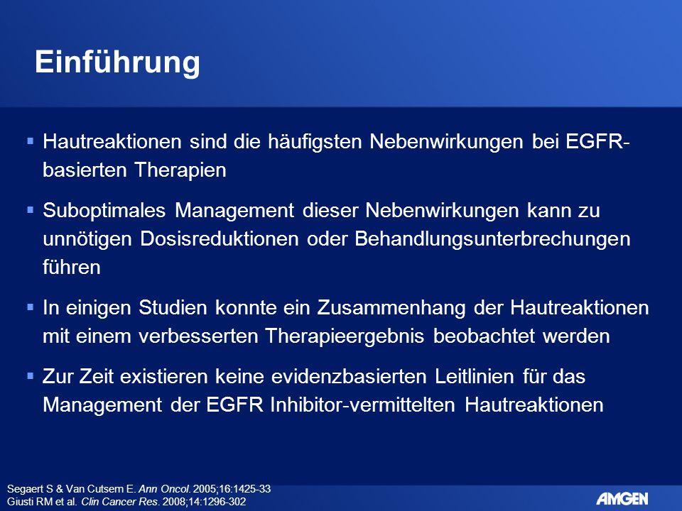 Management der EGFR-Inhibitor- vermittelten Hautreaktionen Die hier beschriebenen Behandlungsempfehlungen basieren auf einer Literaturübersicht oder aus persönlichen Erfahrungen sowie Einzel- oder Kleingruppen-Fallberichten; es existieren nur wenige evidenzbasierte Empfehlungen aus kontrollierten Studien