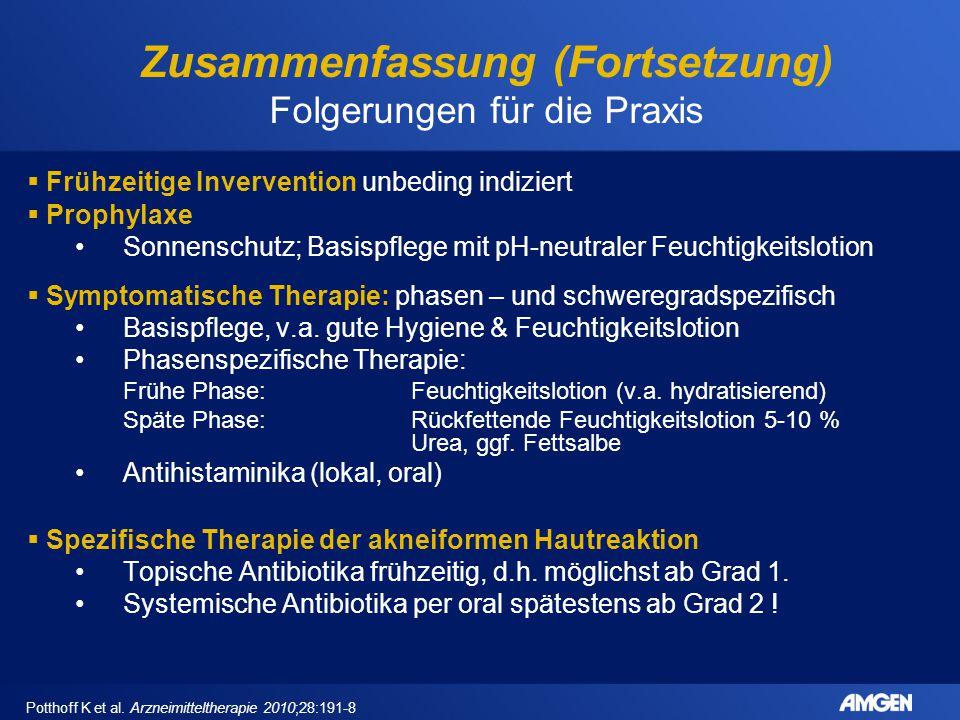 Zusammenfassung (Fortsetzung) Folgerungen für die Praxis Potthoff K et al. Arzneimitteltherapie 2010;28:191-8  Frühzeitige Invervention unbeding indi