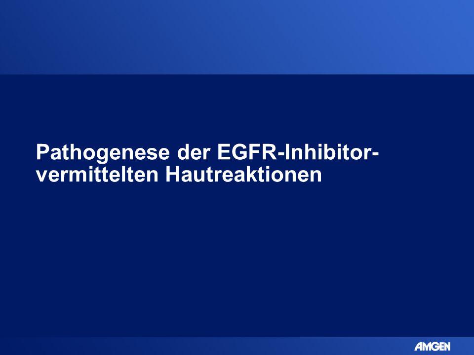 EGFR-Expression und Funktion in der Haut  EGFR wird exprimiert auf: –Gesunden epidermalen und follikulären Keratinozyten –Talgdrüsen Epithel –Schweißdrüsen Epithel –Dendritischen Antigen- präsentierenden Zellen –Verschiedenen verbindenden Gewebszellen  EGFR spielt eine Rolle in der Entwicklung und der Physiologie der Epidermis und der äußeren Schicht der Haarfollikel Lacouture ME.