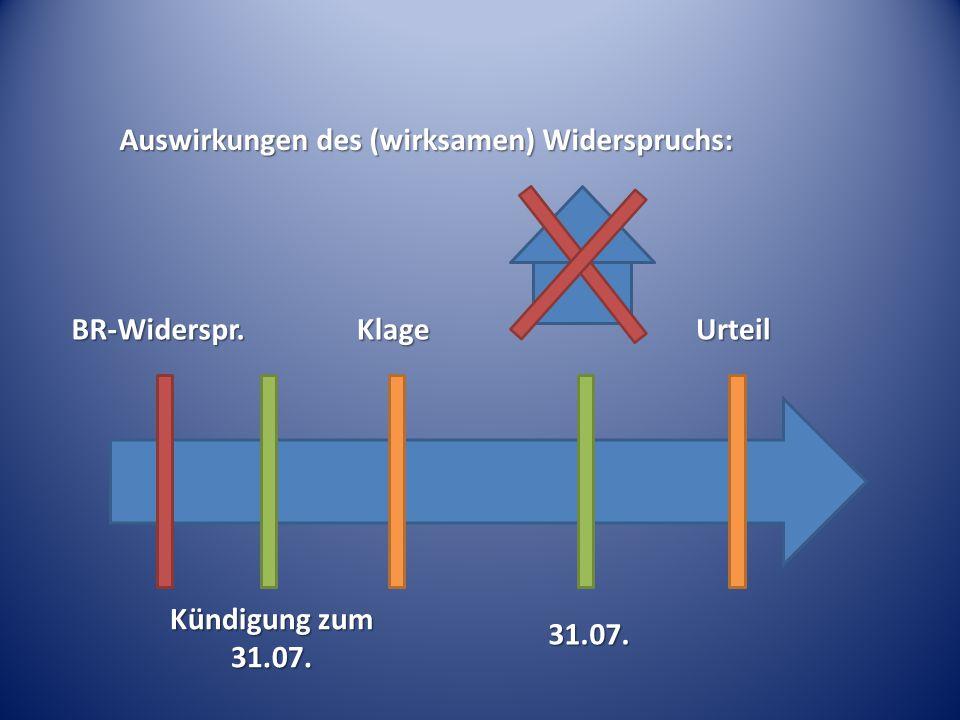 Auswirkungen des (wirksamen) Widerspruchs: Kündigung zum 31.07. 31.07. KlageUrteilBR-Widerspr.