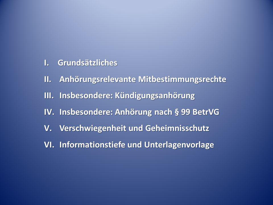 I. Grundsätzliches II.Anhörungsrelevante Mitbestimmungsrechte III.Insbesondere: Kündigungsanhörung IV.Insbesondere: Anhörung nach § 99 BetrVG V.Versch