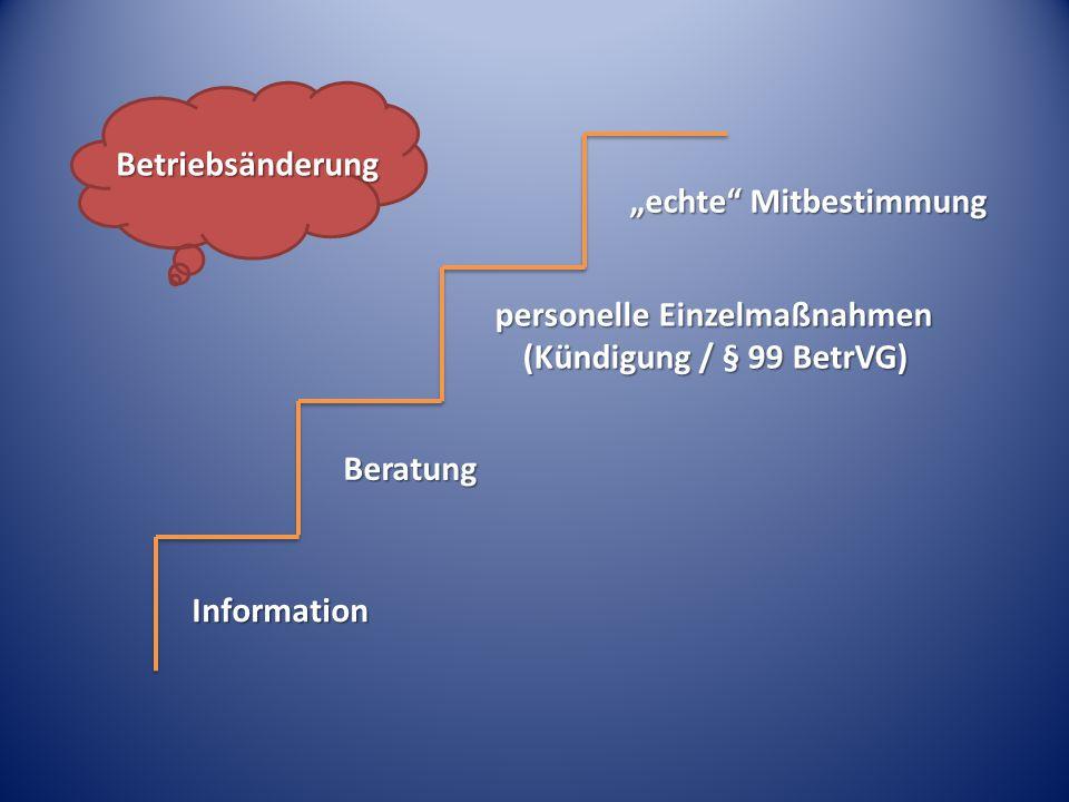 """Information Beratung personelle Einzelmaßnahmen (Kündigung / § 99 BetrVG) """"echte"""" Mitbestimmung Betriebsänderung"""
