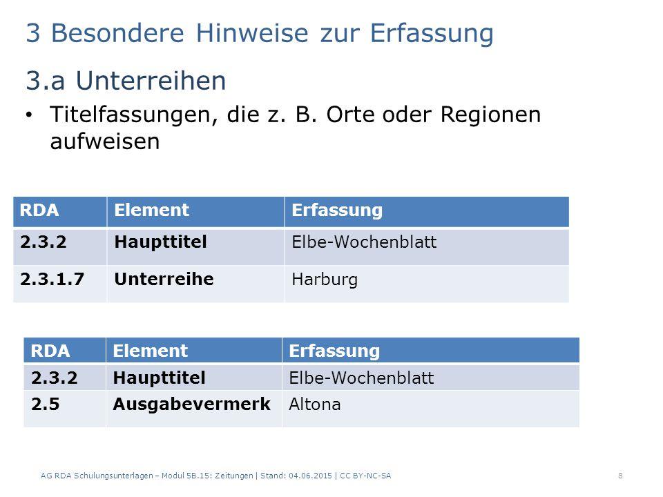 3 Besondere Hinweise zur Erfassung 3.a Unterreihen Titelfassungen, die z. B. Orte oder Regionen aufweisen AG RDA Schulungsunterlagen – Modul 5B.15: Ze