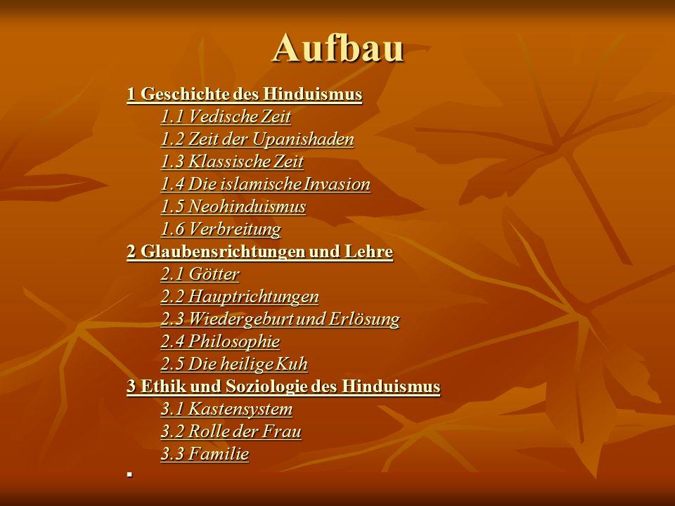 Aufbau 1 Geschichte des Hinduismus 1 Geschichte des Hinduismus 1.1 Vedische Zeit 1.1 Vedische Zeit 1.2 Zeit der Upanishaden 1.2 Zeit der Upanishaden 1