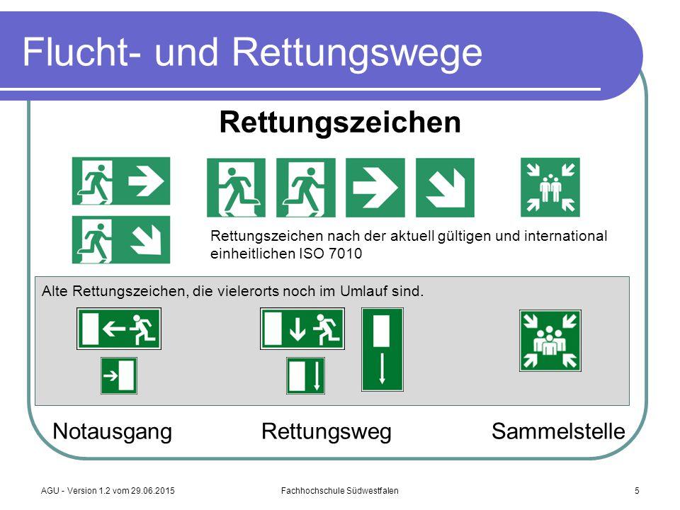 AGU - Version 1.2 vom 29.06.2015Fachhochschule Südwestfalen5 Flucht- und Rettungswege NotausgangRettungswegSammelstelle Rettungszeichen Alte Rettungsz