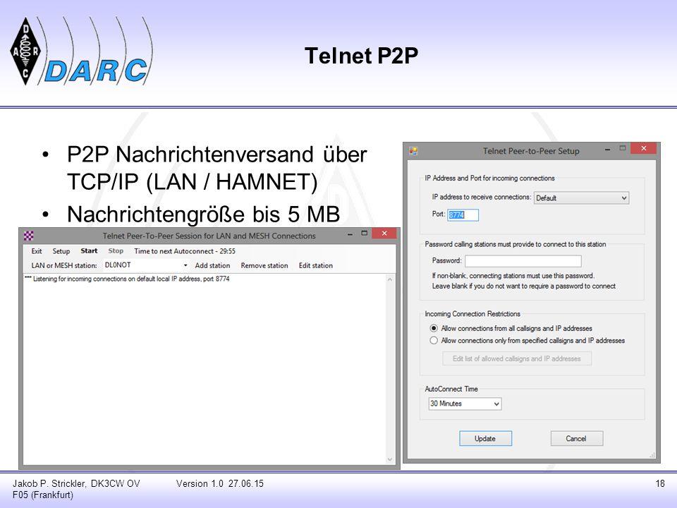 Telnet P2P P2P Nachrichtenversand über TCP/IP (LAN / HAMNET) Nachrichtengröße bis 5 MB Jakob P. Strickler, DK3CW OV F05 (Frankfurt) Version 1.0 27.06.