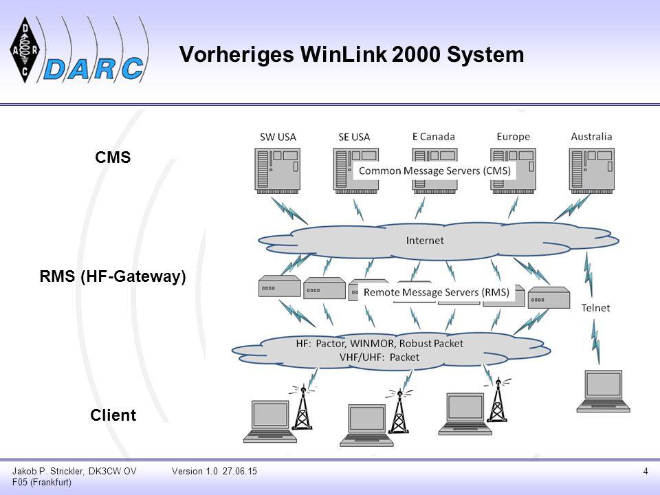 Jakob P. Strickler, DK3CW OV F05 (Frankfurt) Version 1.0 27.06.154 CMS RMS (HF-Gateway) Client Vorheriges WinLink 2000 System