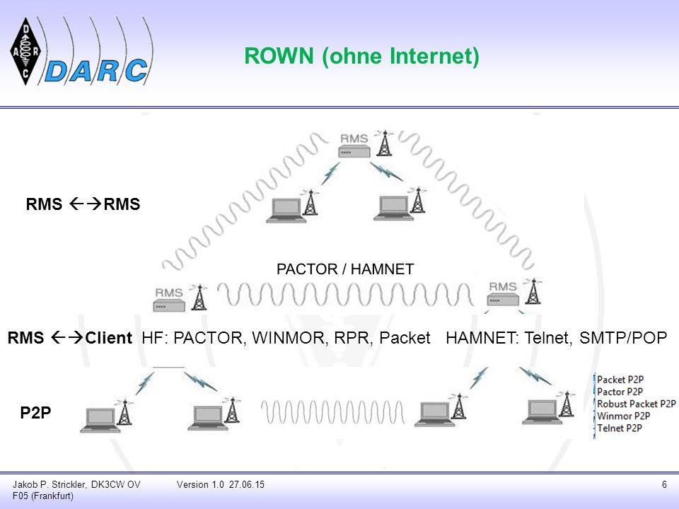 Jakob P. Strickler, DK3CW OV F05 (Frankfurt) Version 1.0 27.06.156 ROWN (ohne Internet) HF: PACTOR, WINMOR, RPR, Packet HAMNET: Telnet, SMTP/POP RMS 