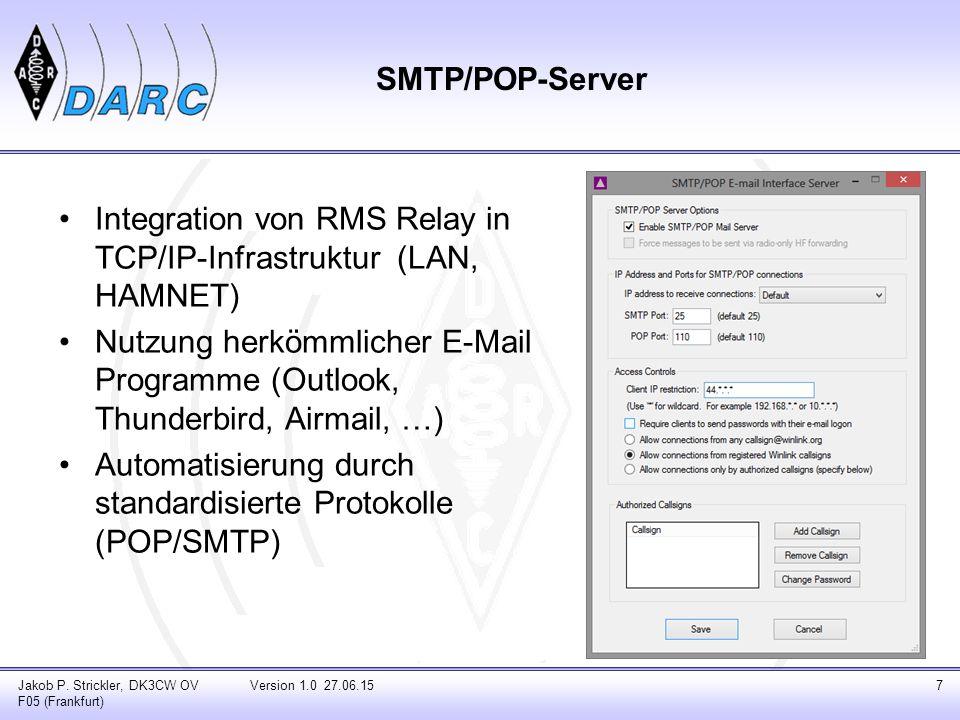 SMTP/POP-Server Integration von RMS Relay in TCP/IP-Infrastruktur (LAN, HAMNET) Nutzung herkömmlicher E-Mail Programme (Outlook, Thunderbird, Airmail,