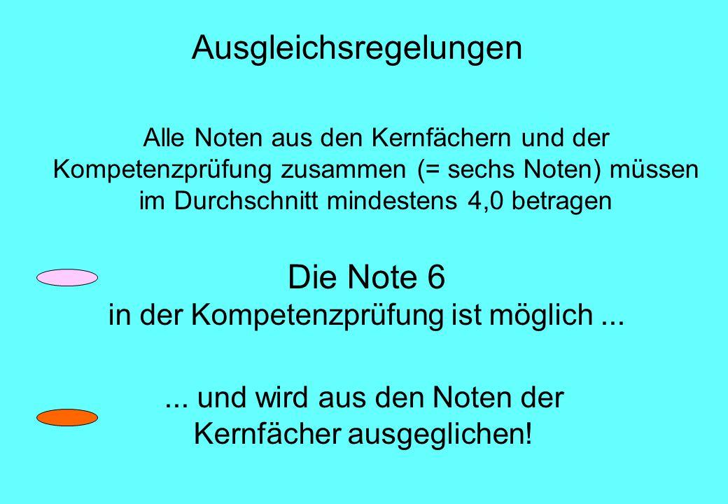 Die Note 6 in der Kompetenzprüfung ist möglich......
