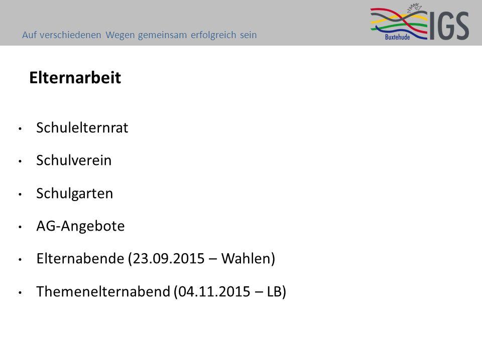 Elternarbeit Schulelternrat Schulverein Schulgarten AG-Angebote Elternabende (23.09.2015 – Wahlen) Themenelternabend (04.11.2015 – LB) Auf verschiedenen Wegen gemeinsam erfolgreich sein