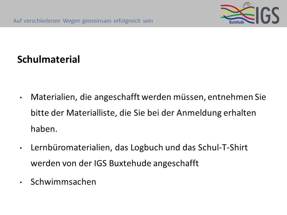 Schulmaterial Materialien, die angeschafft werden müssen, entnehmen Sie bitte der Materialliste, die Sie bei der Anmeldung erhalten haben.