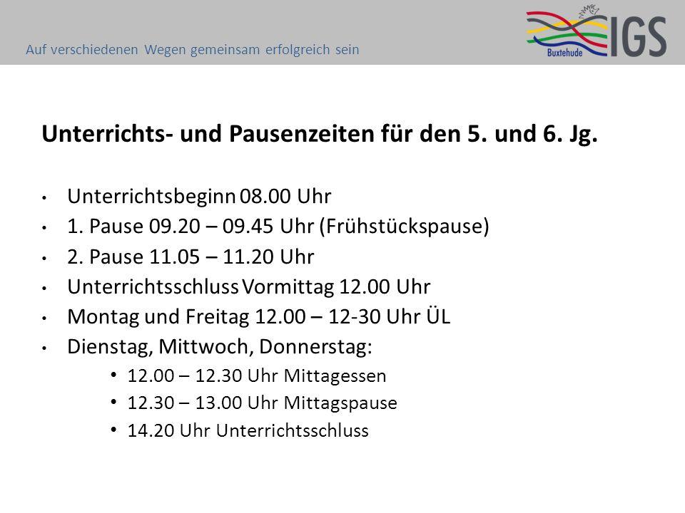 Unterrichts- und Pausenzeiten für den 5. und 6. Jg. Auf verschiedenen Wegen gemeinsam erfolgreich sein Unterrichtsbeginn 08.00 Uhr 1. Pause 09.20 – 09