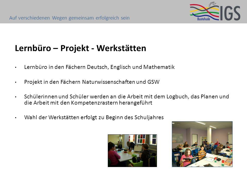 Lernbüro – Projekt - Werkstätten Lernbüro in den Fächern Deutsch, Englisch und Mathematik Projekt in den Fächern Naturwissenschaften und GSW Schülerin