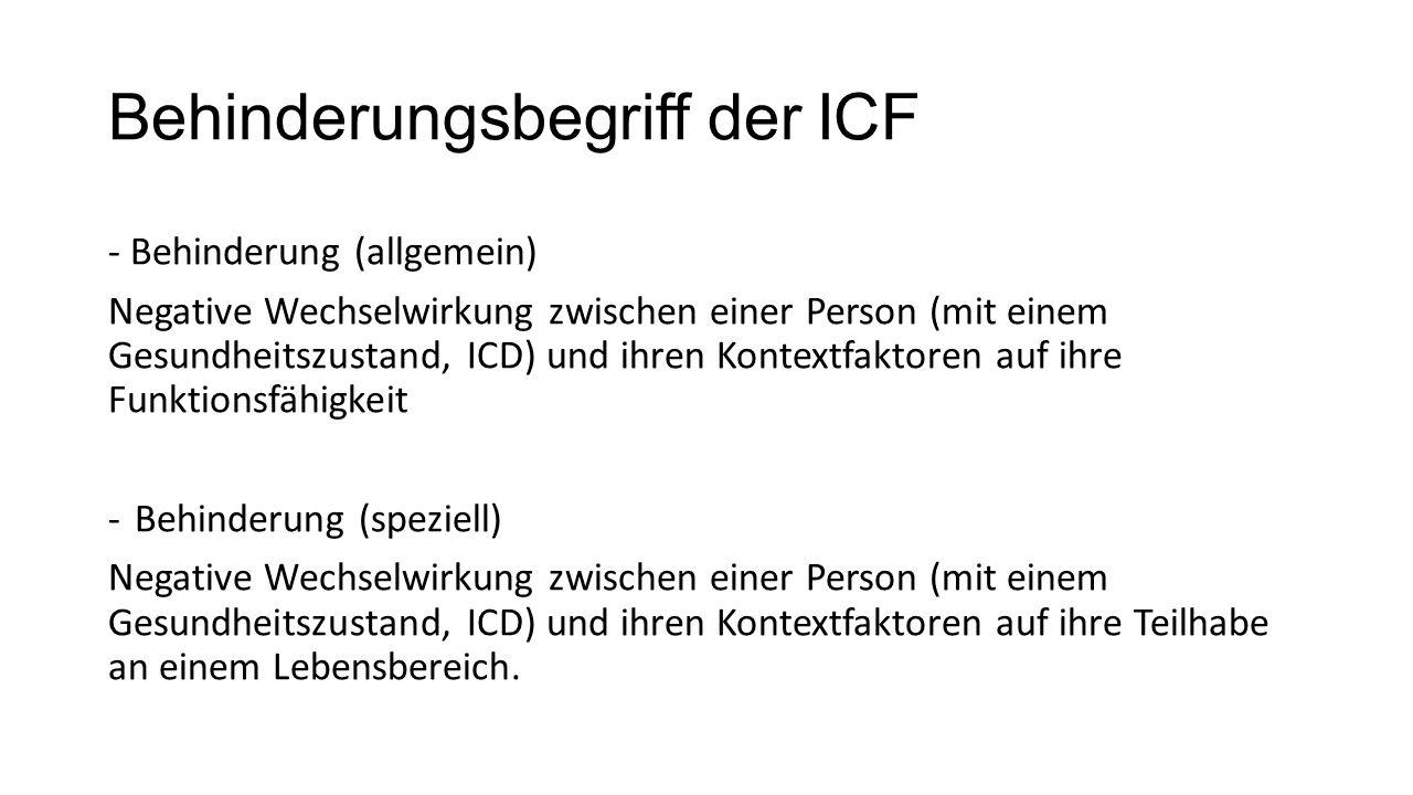 Behinderungsbegriff der ICF - Behinderung (allgemein) Negative Wechselwirkung zwischen einer Person (mit einem Gesundheitszustand, ICD) und ihren Kontextfaktoren auf ihre Funktionsfähigkeit -Behinderung (speziell) Negative Wechselwirkung zwischen einer Person (mit einem Gesundheitszustand, ICD) und ihren Kontextfaktoren auf ihre Teilhabe an einem Lebensbereich.