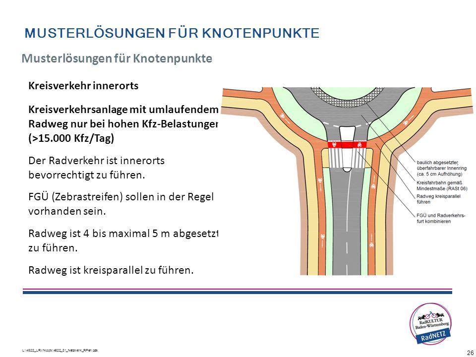 26 L:\4622_LRVN\pptx\4622_31_Netzwerk_RPen.pptx Kreisverkehr innerorts Kreisverkehrsanlage mit umlaufendem Radweg nur bei hohen Kfz-Belastungen (>15.0