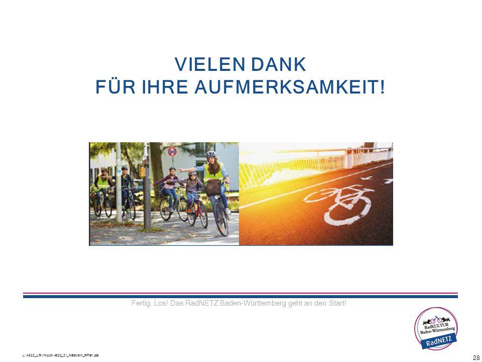 L:\4622_LRVN\pptx\4622_31_Netzwerk_RPen.pptx 28 VIELEN DANK FÜR IHRE AUFMERKSAMKEIT! Fertig. Los! Das RadNETZ Baden-Württemberg geht an den Start!