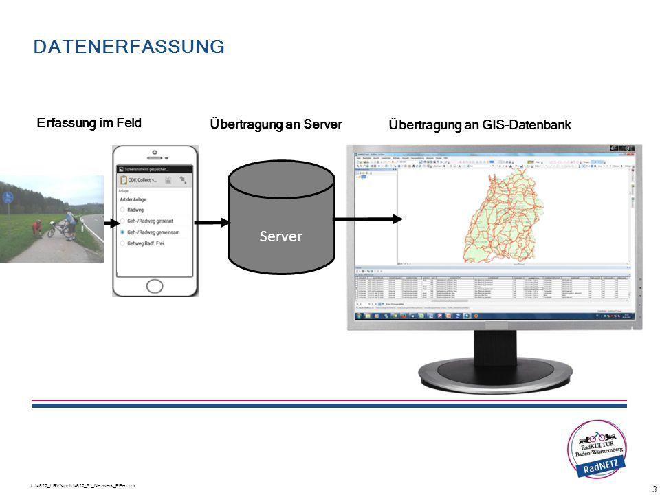 L:\4622_LRVN\pptx\4622_31_Netzwerk_RPen.pptx 3 DATENERFASSUNG Server Erfassung im Feld Übertragung an GIS-Datenbank Übertragung an Server Ablauf der B