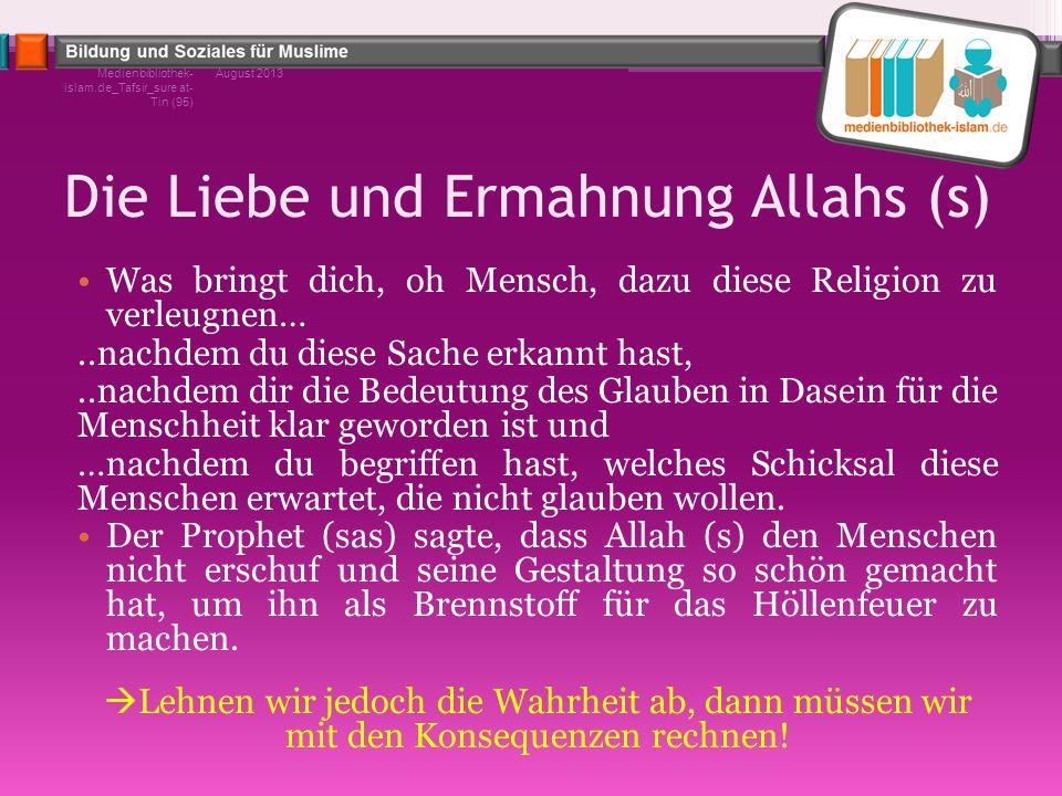 Die Liebe und Ermahnung Allahs (s) Was bringt dich, oh Mensch, dazu diese Religion zu verleugnen…..nachdem du diese Sache erkannt hast,..nachdem dir d