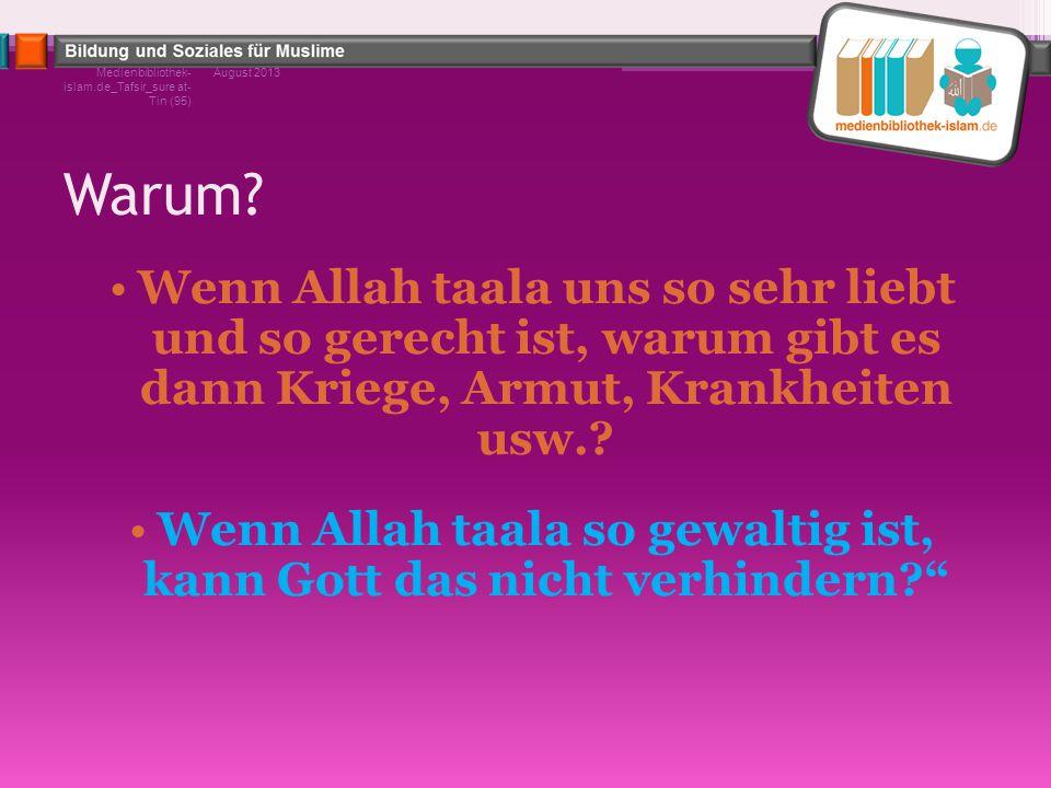 Warum? Wenn Allah taala uns so sehr liebt und so gerecht ist, warum gibt es dann Kriege, Armut, Krankheiten usw.? Wenn Allah taala so gewaltig ist, ka