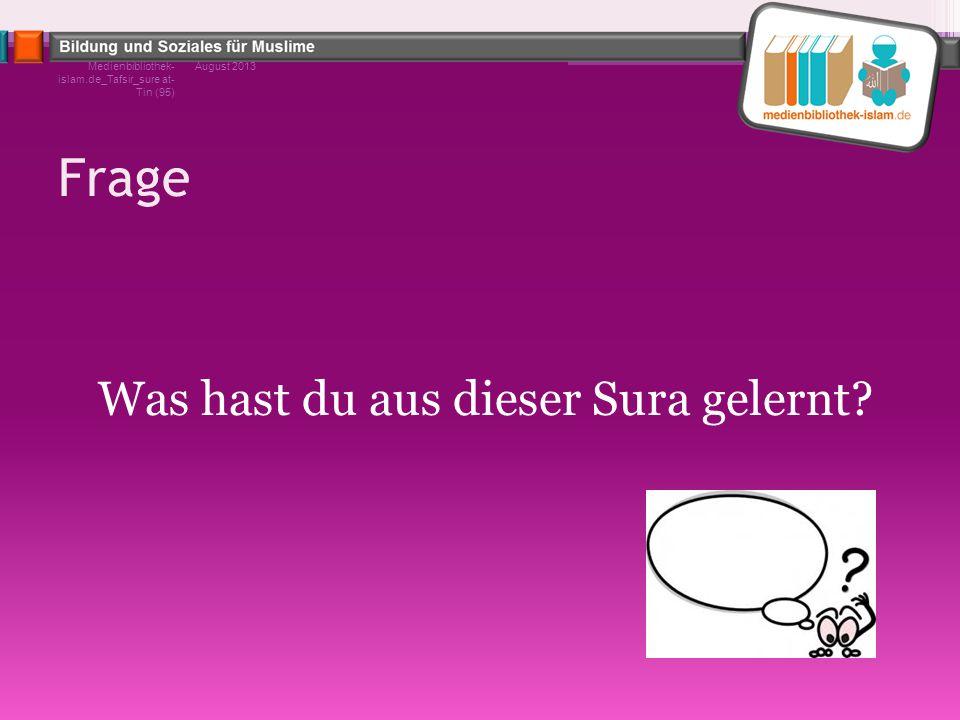 Frage Was hast du aus dieser Sura gelernt? August 2013Medienbibliothek- islam.de_Tafsir_sure at- Tin (95)