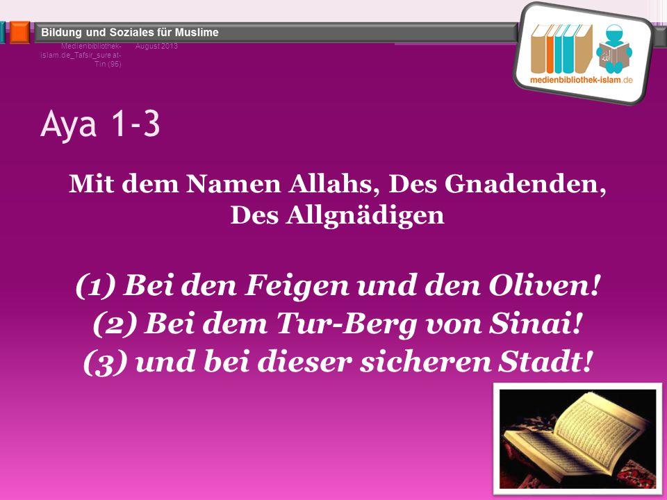 Aya 1-3 Mit dem Namen Allahs, Des Gnadenden, Des Allgnädigen (1) Bei den Feigen und den Oliven! (2) Bei dem Tur-Berg von Sinai! (3) und bei dieser sic