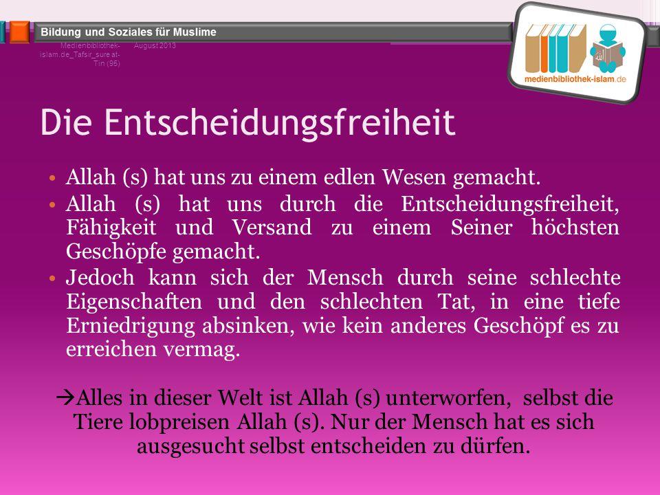 Die Entscheidungsfreiheit Allah (s) hat uns zu einem edlen Wesen gemacht. Allah (s) hat uns durch die Entscheidungsfreiheit, Fähigkeit und Versand zu