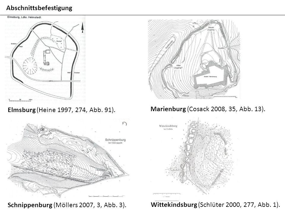 Elmsburg (Heine 1997, 274, Abb. 91). Marienburg (Cosack 2008, 35, Abb. 13). Schnippenburg (Möllers 2007, 3, Abb. 3). Wittekindsburg (Schlüter 2000, 27