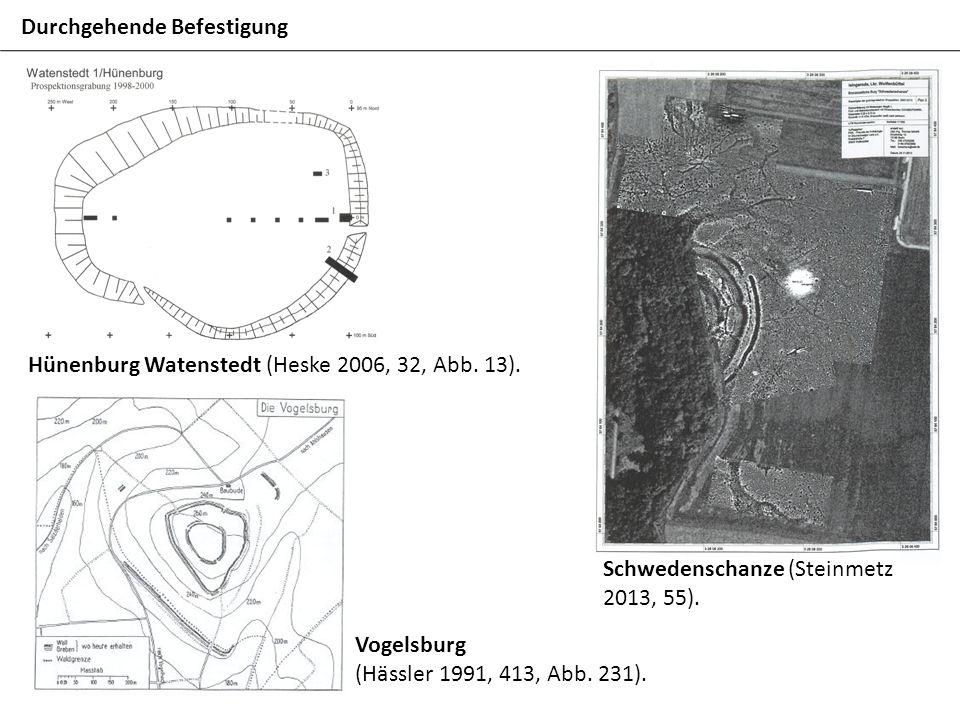 Durchgehende Befestigung Hünenburg Watenstedt (Heske 2006, 32, Abb. 13). Schwedenschanze (Steinmetz 2013, 55). Vogelsburg (Hässler 1991, 413, Abb. 231