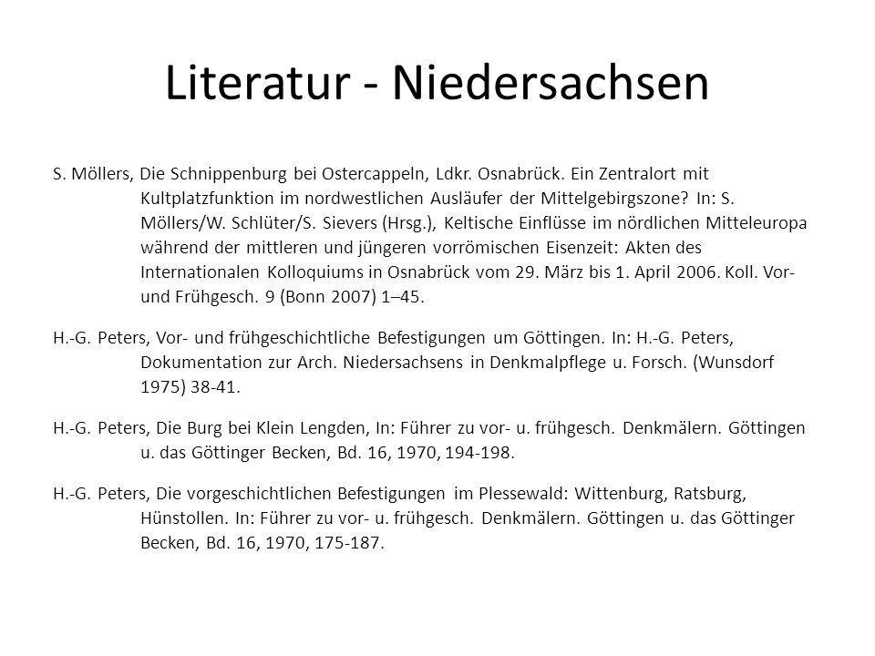 Literatur - Niedersachsen S. Möllers, Die Schnippenburg bei Ostercappeln, Ldkr. Osnabrück. Ein Zentralort mit Kultplatzfunktion im nordwestlichen Ausl