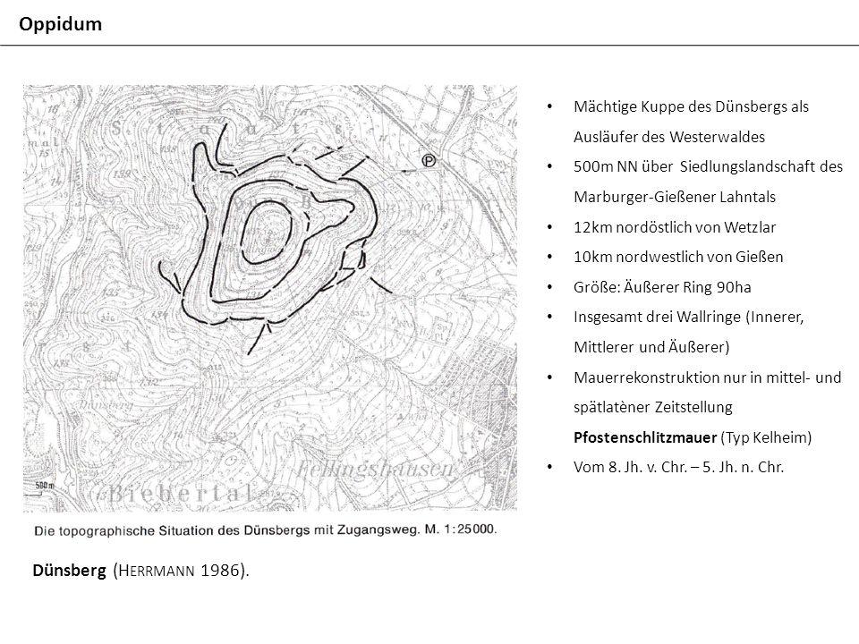 Oppidum Dünsberg (H ERRMANN 1986). Mächtige Kuppe des Dünsbergs als Ausläufer des Westerwaldes 500m NN über Siedlungslandschaft des Marburger-Gießener