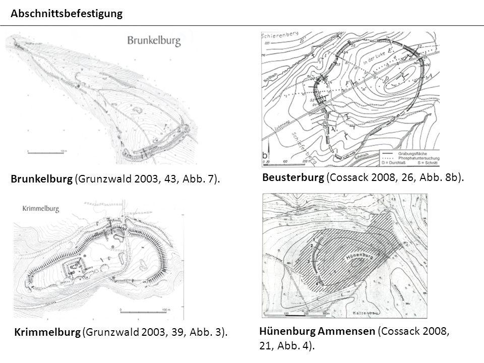 Abschnittsbefestigung Beusterburg (Cossack 2008, 26, Abb. 8b). Brunkelburg (Grunzwald 2003, 43, Abb. 7). Krimmelburg (Grunzwald 2003, 39, Abb. 3). Hün