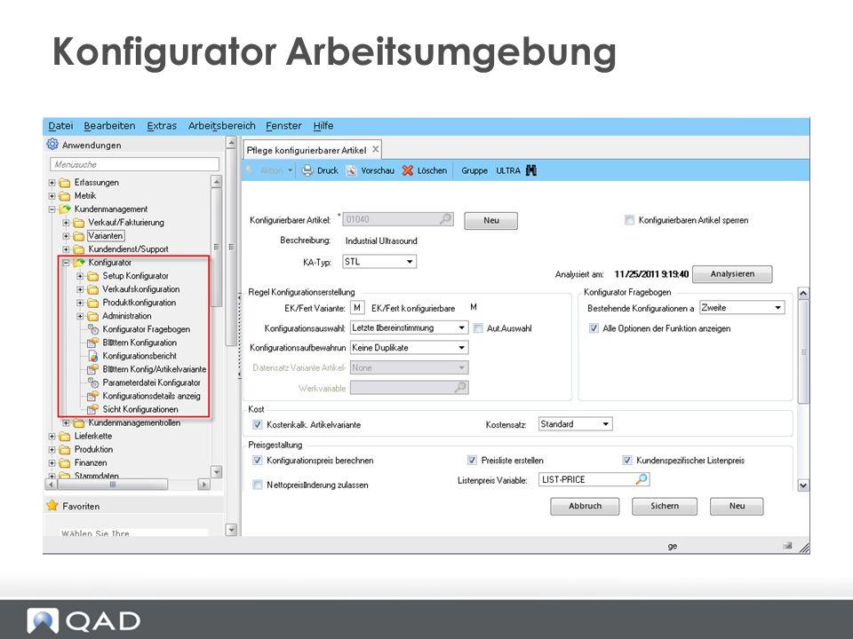 Konfigurator Arbeitsumgebung
