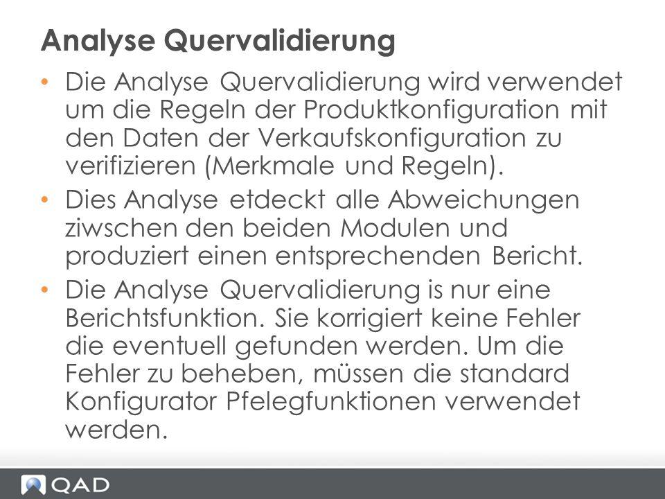 Die Analyse Quervalidierung wird verwendet um die Regeln der Produktkonfiguration mit den Daten der Verkaufskonfiguration zu verifizieren (Merkmale un