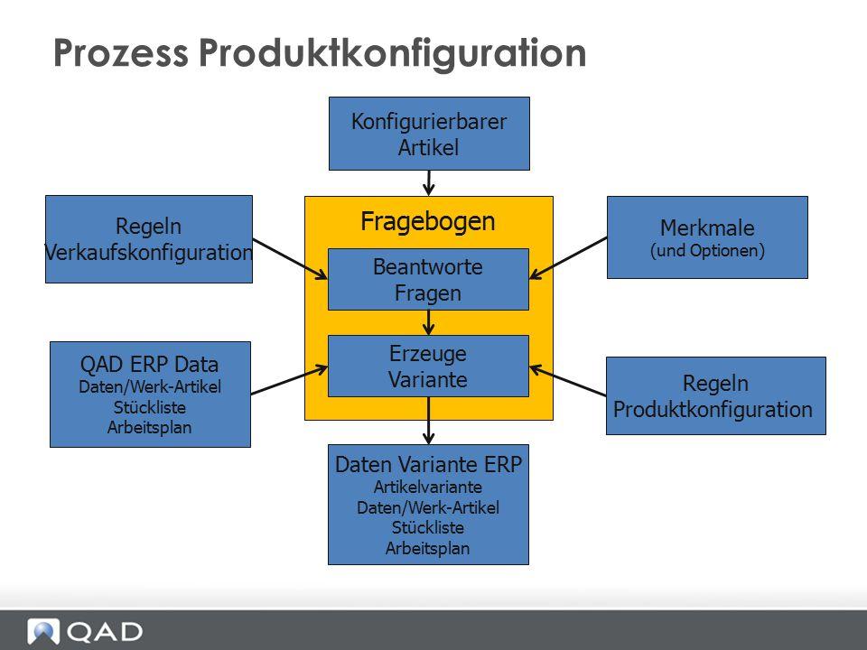 Fragebogen Beantworte Fragen Merkmale (und Optionen) Regeln Verkaufskonfiguration Prozess Produktkonfiguration Konfigurierbarer Artikel Regeln Produkt